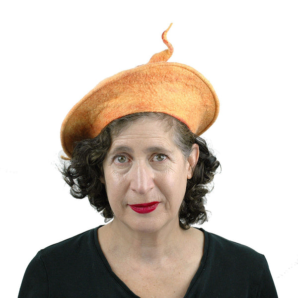 Tumeric Yellow Felted Beret with Sculptural Pod - front view