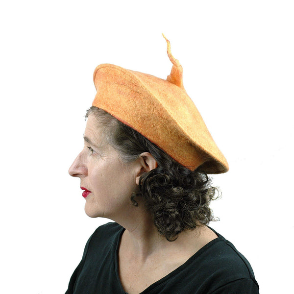 Tumeric Yellow Felted Beret with Sculptural Pod - side view