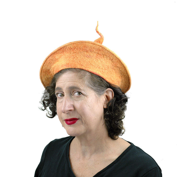Tumeric Yellow Felted Beret with Sculptural Pod - threequarters view