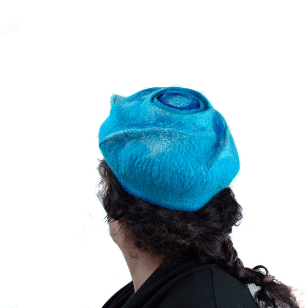 Turquoise Blue Beret with Concentric Circles / Fibonacci Rose on Top - back view