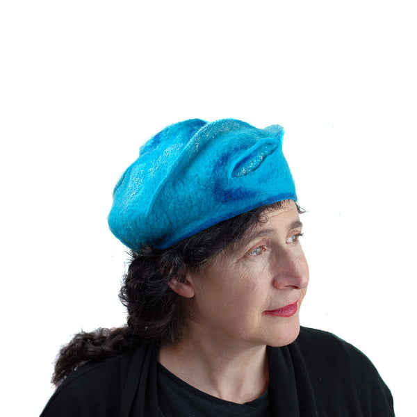 Turquoise Blue Beret with Concentric Circles / Fibonacci Rose on Top - side 1