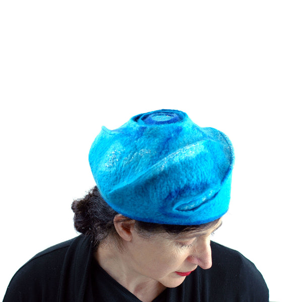 Turquoise Blue Beret with Concentric Circles on Top - top view