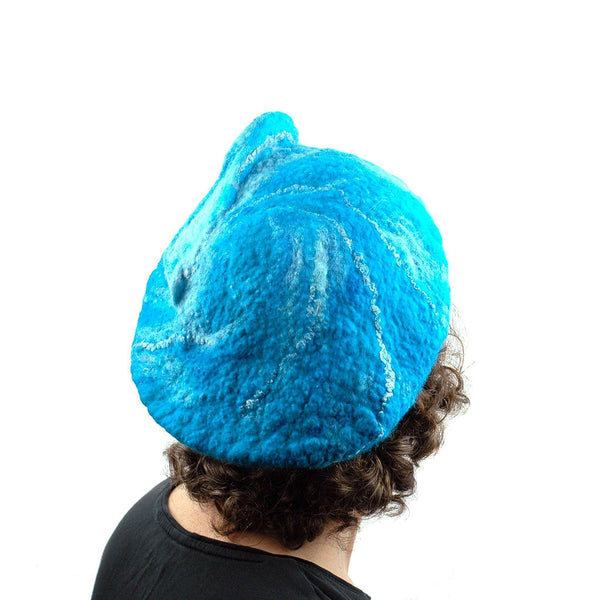 Turquoise Blue Felted Beret with Wave on Top - backview