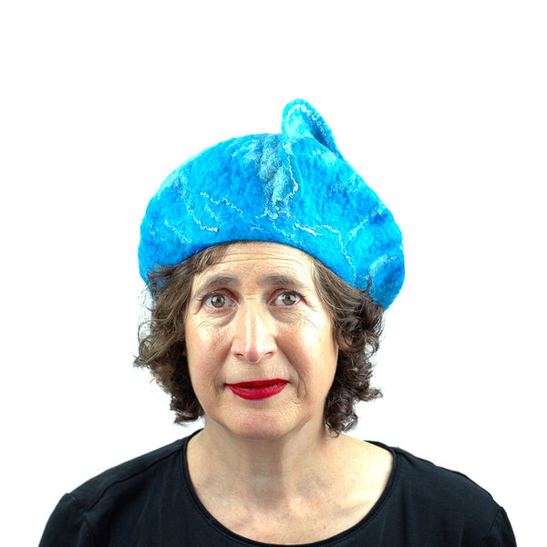 Turquoise Blue Felted Beret with Wave on Top - front view