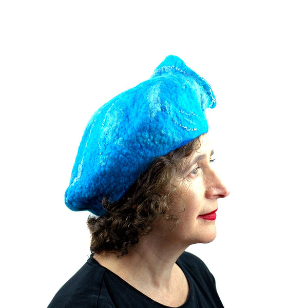 Turquoise Blue Felted Beret with Wave on Top - side view