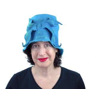 Turquoise Blue Felted Bucket Hat with Wings - front view