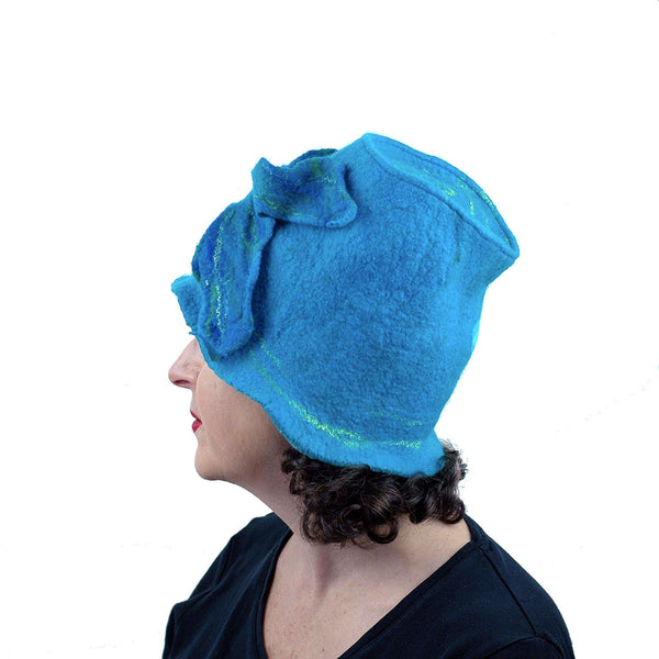 Turquoise Blue Felted Bucket Hat with Wings - side view
