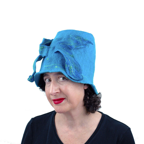 Turquoise Blue Felted Bucket Hat with Wings - threequarters view
