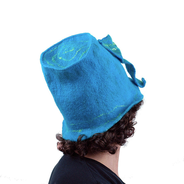 Turquoise Blue Felted Bucket Hat with Wings - back view