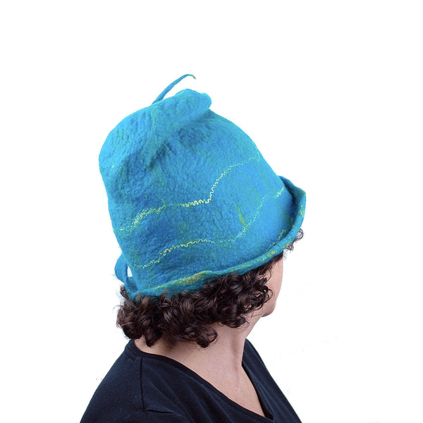 Turquoise Blue Felted Cloche with Mermaid Tail - back view