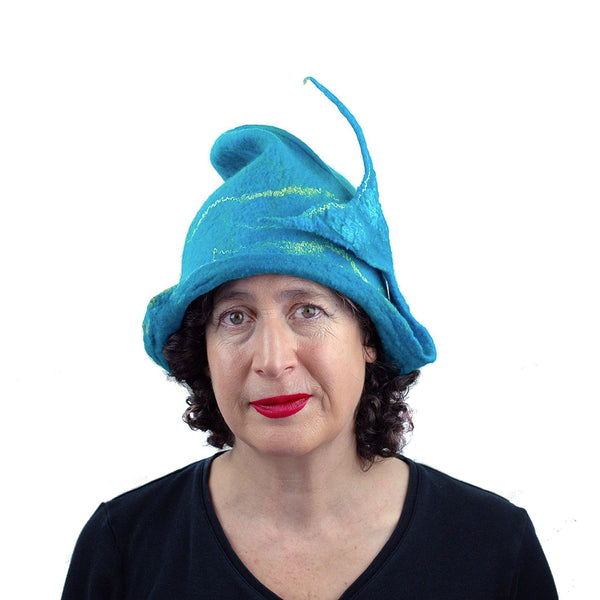 Turquoise Blue Felted Cloche with Mermaid Tail - front view