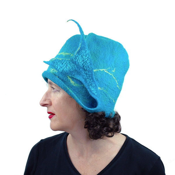 Turquoise Blue Felted Cloche with Mermaid Tail - side view