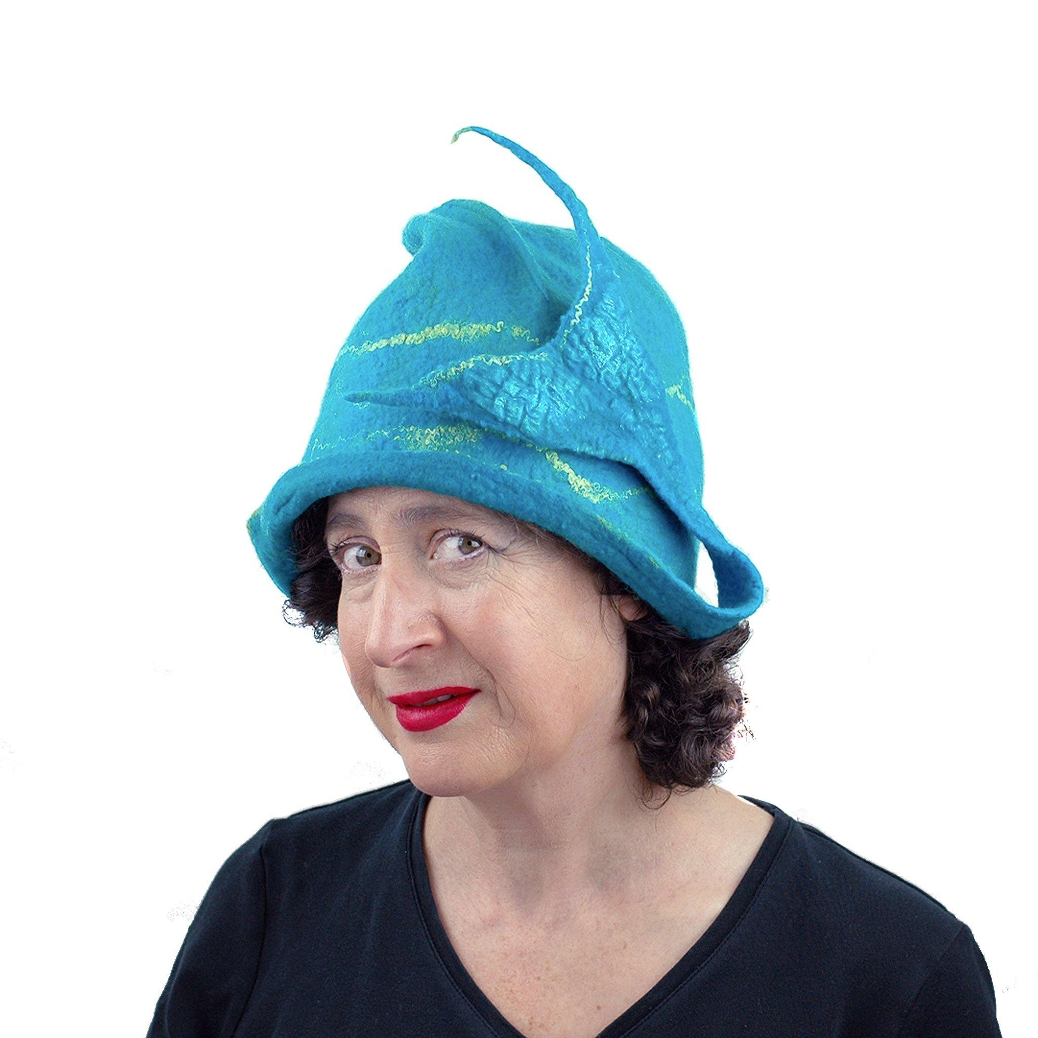 Turquoise Blue Felted Cloche with Mermaid Tail - threequarters view
