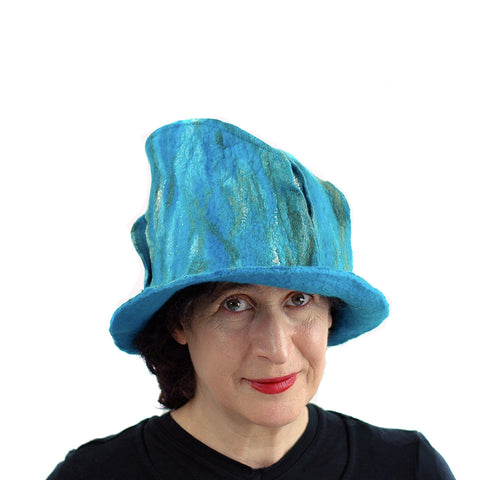 Turquoise and Green Felted Fedora - front view