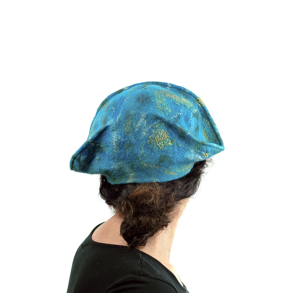 Turquoise Garrison Style Felted Beret -back view
