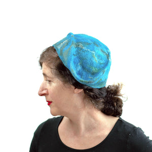 Turquoise Garrison Style Felted Beret -side view