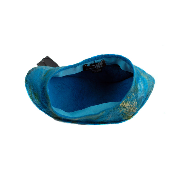 Turquoise Garrison Style Felted Beret -inside view