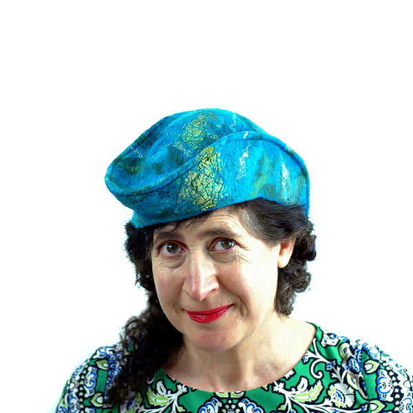 Turquoise Garrison Style Felted Beret -turned on head