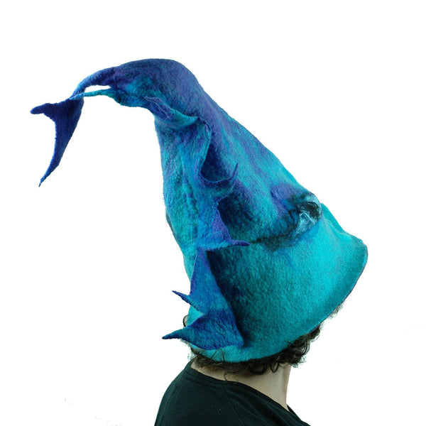 Turquoise Purple Dolphin Dragon Wizard Hat - back view