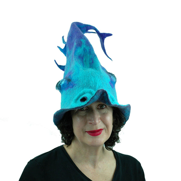 Turquoise Purple Dolphin Dragon Wizard Hat - front view