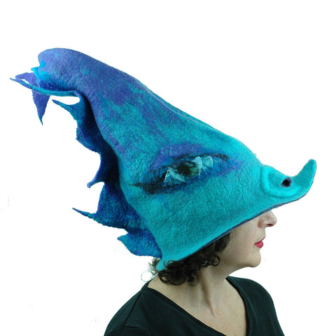 Turquoise Purple Dolphin Dragon Wizard Hat - side view
