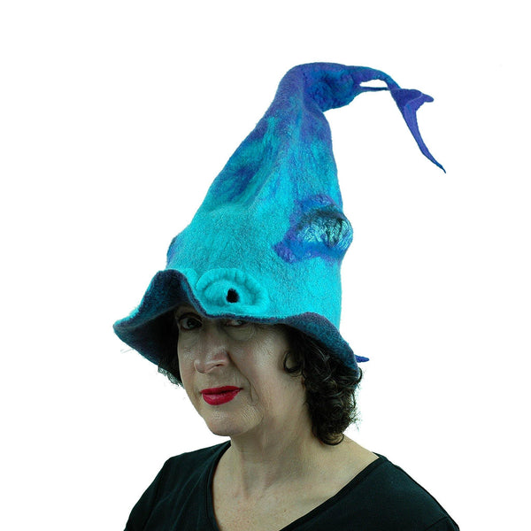 Turquoise Purple Dolphin Dragon Wizard Hat - threequarters view