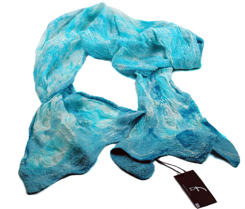 Turquoise Nunofelted Scarf