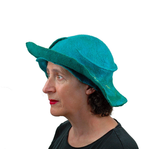 Turquoise Wing Felted Hat - side view