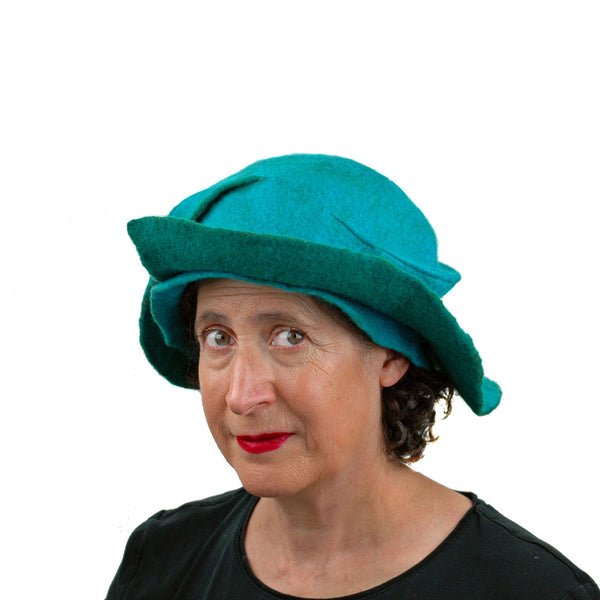 Turquoise Wing Felted Hat - three quarters view