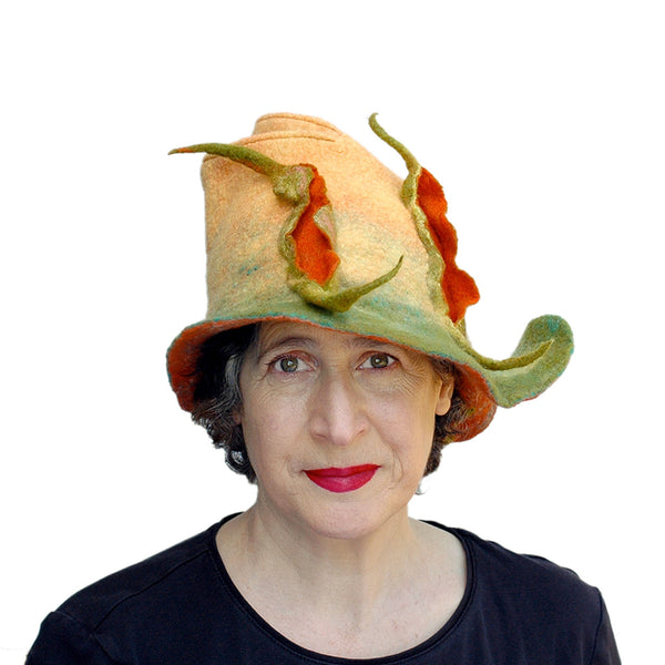 Unique Yellow and Orange Fedora with Three Peapods - front view