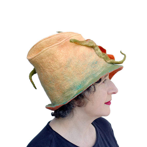 Unique Yellow and Orange Fedora with Three Peapods - side view