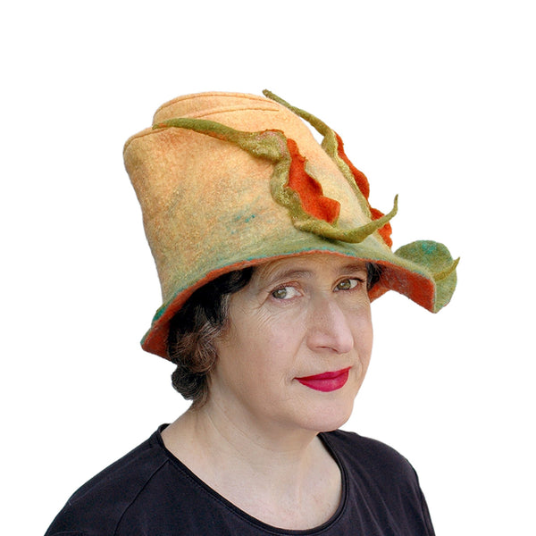 Unique Yellow and Orange Fedora with Three Peapods - three quarters view
