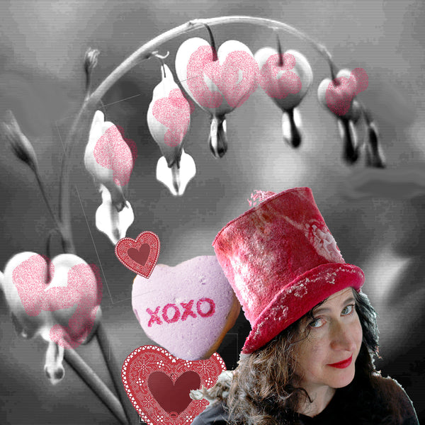 Pinky Red Valentines Top Hat with Bleeding Heart Plant and Candy Hearts in a digital collage.