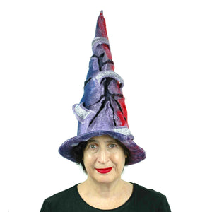 Violet Protest Red and Blue Felted Witch Hat - front view