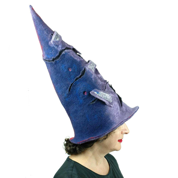 Violet Protest Red and Blue Felted Witch Hat - Side view, blue side.