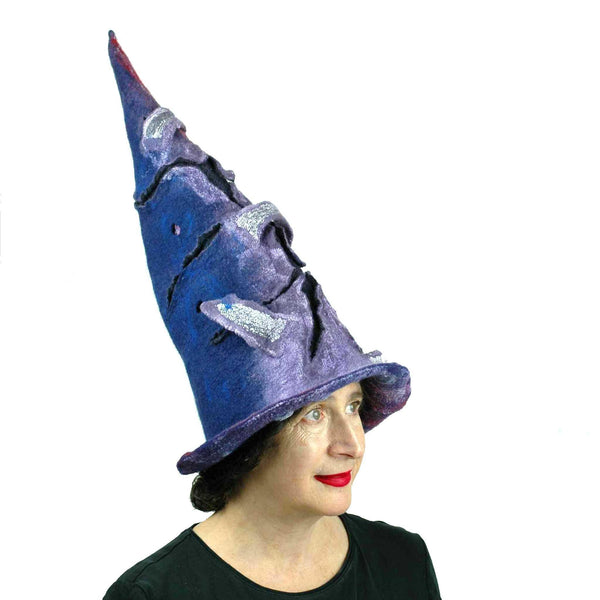 Violet Protest Red and Blue Felted Witch Hat - threequarters view