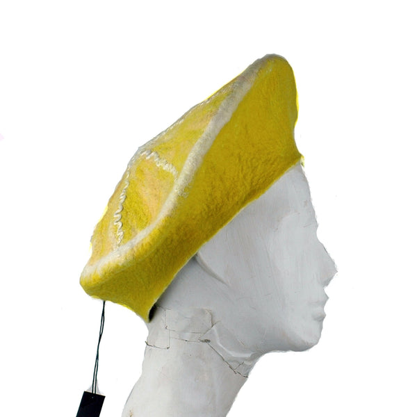 Cheerful Felted Lemon Beret - side view