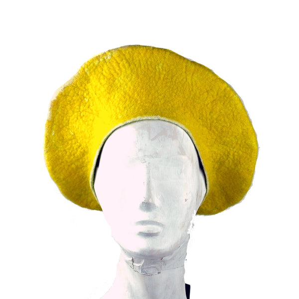 Cheerful Felted Lemon Beret - front view