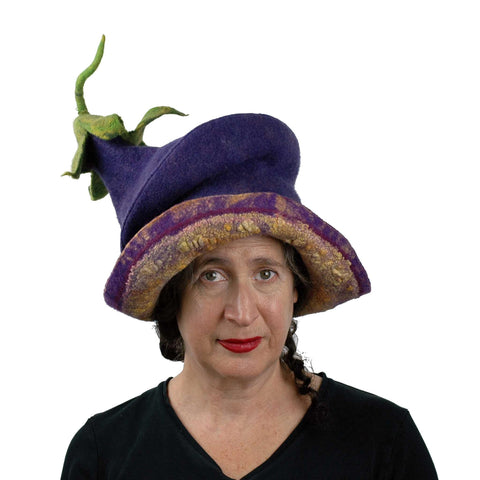 Whimsical Felted Eggplant Hat with Wide Brim - front view