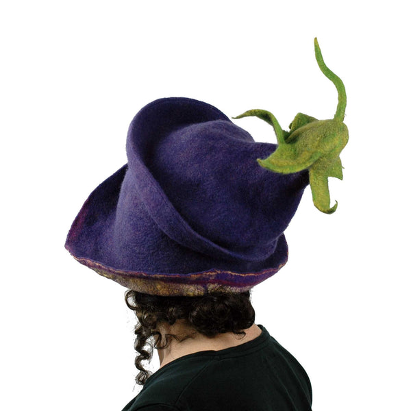Whimsical Felted Eggplant Hat with Wide Brim - back view