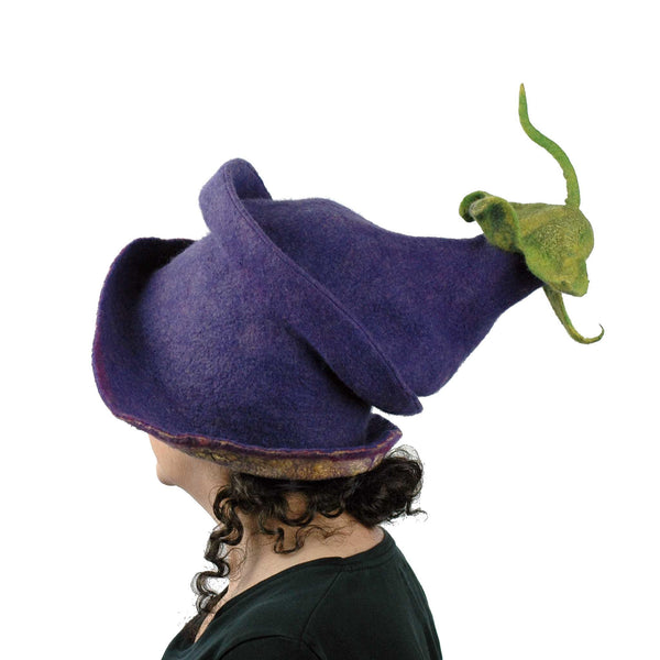Whimsical Felted Eggplant Hat with Wide Brim - side view