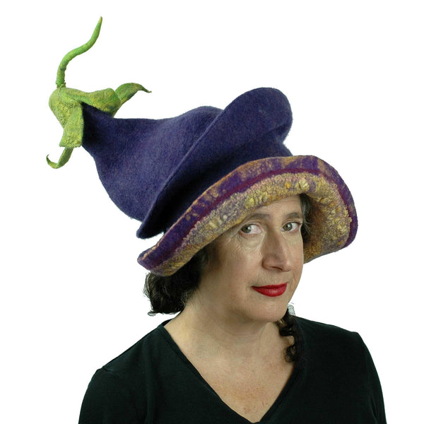 Whimsical Felted Eggplant Hat with Wide Brim - threequarters view