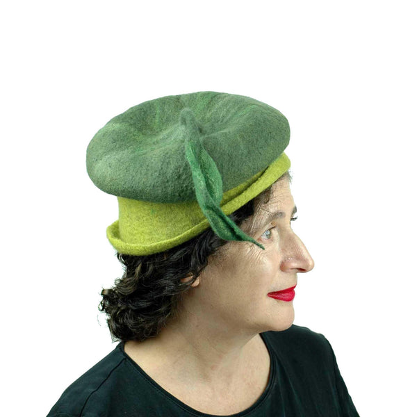 Whimsical Leafy Green Cap Small Size -side view