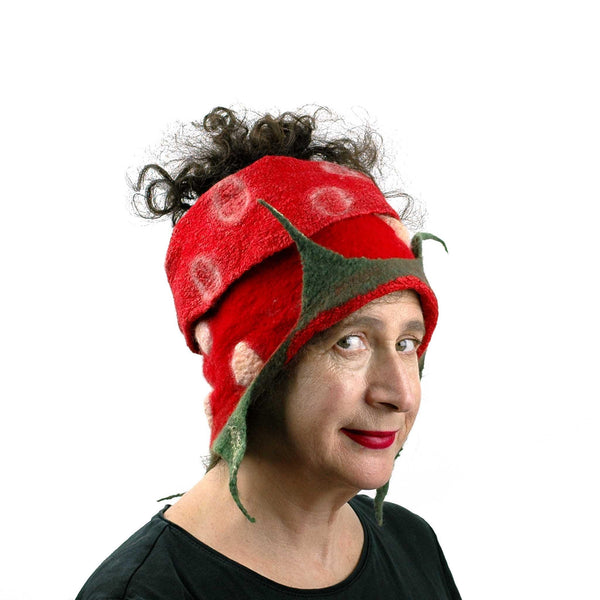 Whimsical Red Strawberry Neck Warmer with Green Leaves - worn as a head scarf.