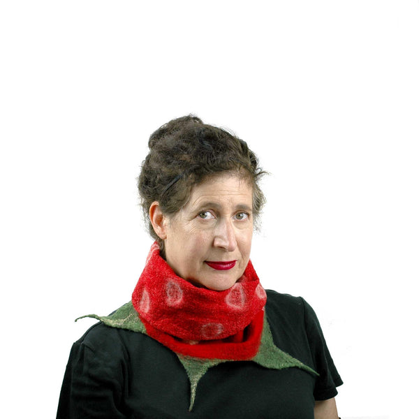 Whimsical Red Strawberry Neck Warmer with Green Leaves with inside folded over.