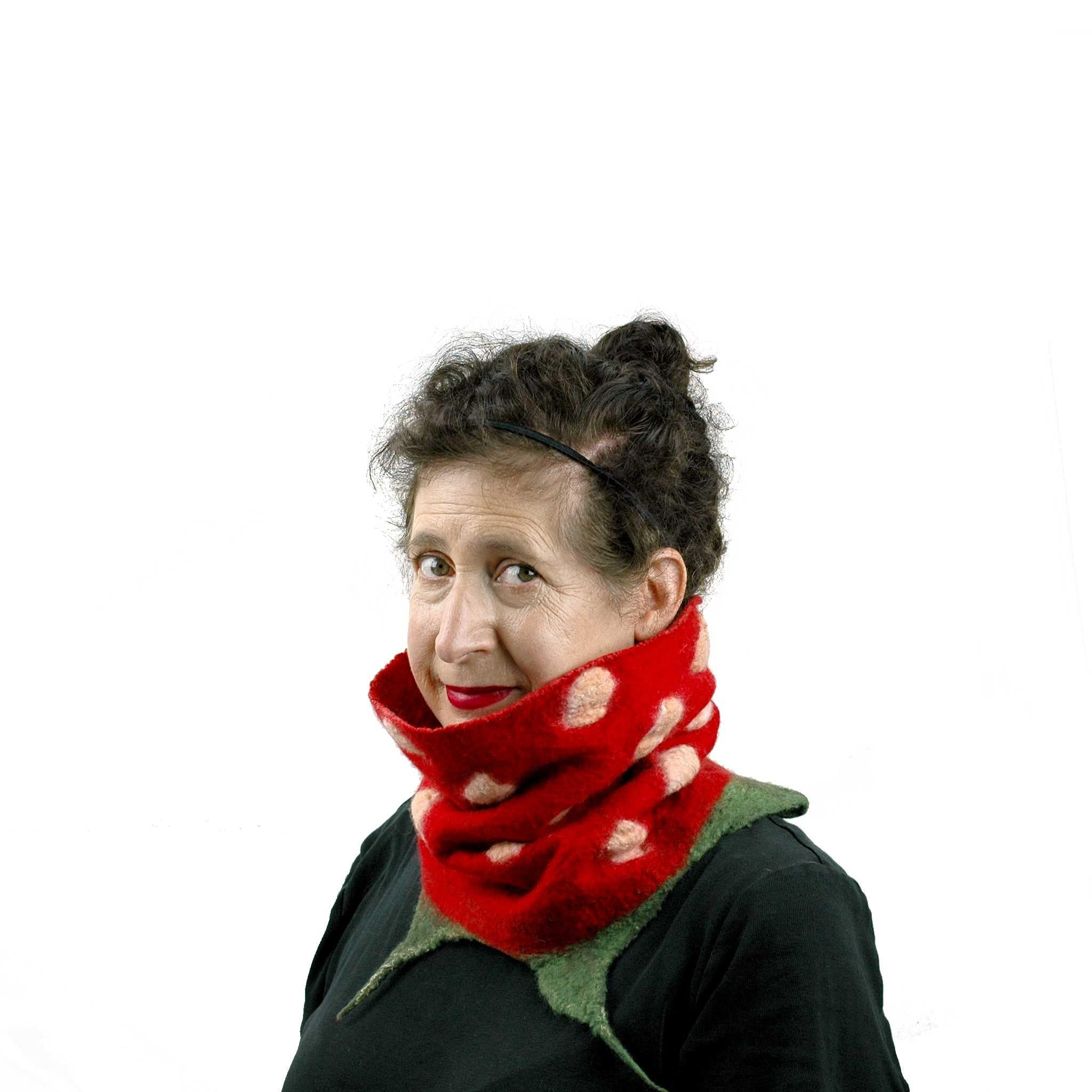 Whimsical Red Strawberry Neck Warmer with Green Leaves worn with wooly side out.