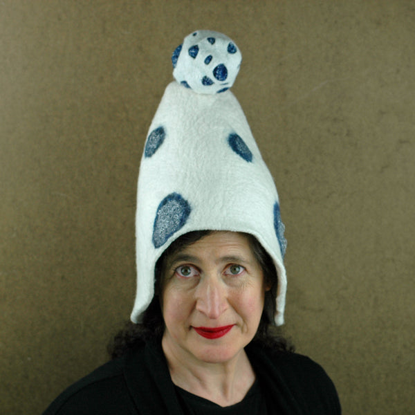 White Mushroom Hat with Blue Polka Dots -front view