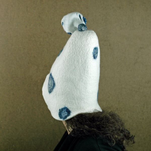 White Mushroom Hat with Blue Polka Dots -back view