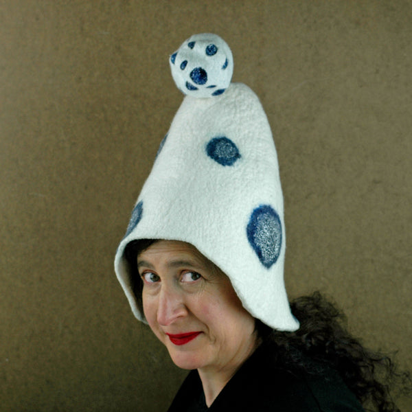 White Mushroom Hat with Blue Polka Dots - three quarters view