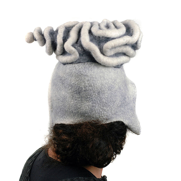 White Surrealistic Brain Hat - back view